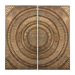 Set Of 2 Abstract Metal Wall Panels