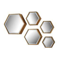 Hexagonal Beveled Mirror - Set Of 5