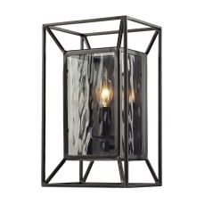 Cubix 1 Light Wall Sconce In Oiled Bronze And Clear Water Glass