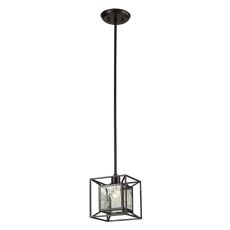 Cubix 1 Light Pendant In Oiled Bronze And Clear Water Glass