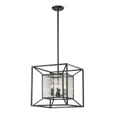 Cubix 4 Light Pendant In Oiled Bronze And Clear Water Glass