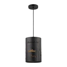 Cafe 1 Light Pendant In Matte Black With Gold Accents