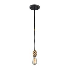 Camley 1 Light Pendant In Polished Gold And Oil Rubbed Bronze