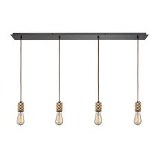 Camley 4 Light Pendant In Polished Gold And Oil Rubbed Bronze