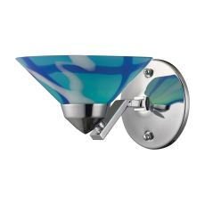 Refraction 1 Light Wall Sconce In Polished Chrome And Carribean Glass