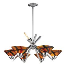 Refraction 6 Light Chandelier In Polished Chrome And Jasper Glass