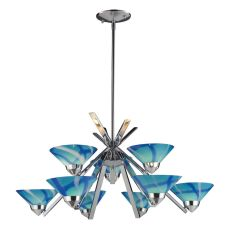 Refraction 9 Light Chandelier In Polished Chrome And Carribean Glass