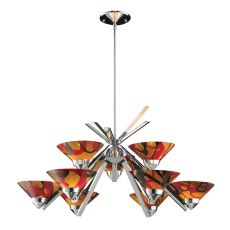 Refraction 9 Light Chandelier In Polished Chrome And Jasper Glass