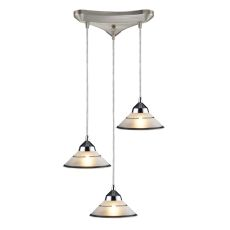 Refraction 3 Light Pendant In Polished Chrome And Etched Clear Glass