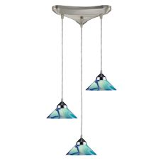 Refraction 3 Light Pendant In Polished Chrome And Caribbean Glass