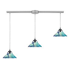 Refraction 3 Light Pendant In Polished Chrome And Carribbean Glass