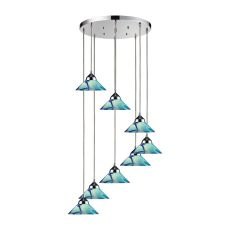 Refraction 8 Light Pendant In Polished Chrome And Caribbean Glass