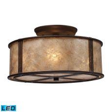 Barringer 3 Light Led Semi Flush In Aged Bronze And Tan Mica