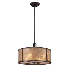 Barringer 4 Light Pendant In Aged Bronze And Tan Mica