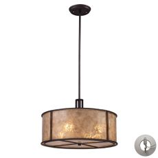 Barringer 4 Light Pendant In Aged Bronze And Tan Mica With Adapter Kit