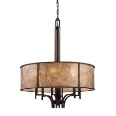 Barringer 6 Light Pendelier In Aged Bronze And Tan Mica