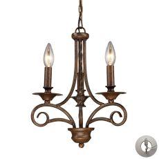Gloucester 3 Light Chandelier In Weathered Bronze - Includes Recessed Lighting Kit