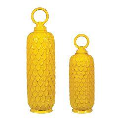Set Of 2 Lidded Ceramic Jars In Sunshine Yellow