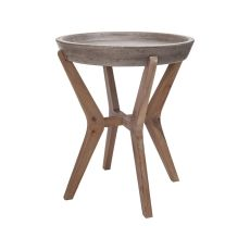 Tonga Side Table, Waxed Concrete, Silver Brushed Woodtone
