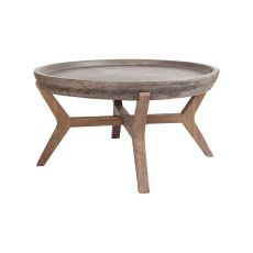 Tonga Coffee Table, Waxed Concrete, Silver Brushed Woodtone