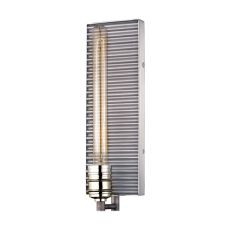 Corrugated Steel 1 Light Wall Sconce In Weathered Zinc And Polished Nickel