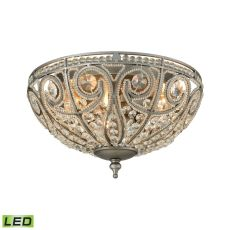 Elizabethan 3 Light Led Flush In Weathered Zinc