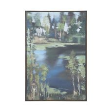 Mountain Lake Hand Painted Waterscape Wall D