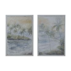 Island Tropics Wall Decor, Grain De Bois Blanc