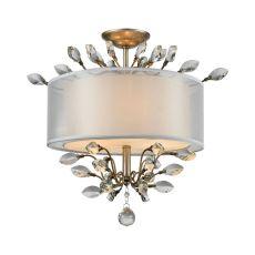 Asbury 3 Light Semi Flush In Aged Silver