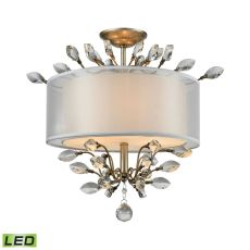 Asbury 3 Light Led Semi Flush In Aged Silver