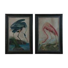 Blue Heron And Flamingo Wall Decor, Original Art
