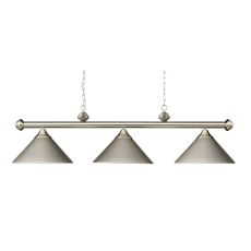 Casual Traditions 3 Light Billiard In Satin Nickel With Matching Metal Shades