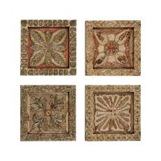 Set Of 4 Carved Wall Plaques Wall Decor, Multicolor