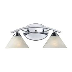 Elysburg 2 Light Vanity In Polished Chrome And White Glass