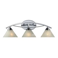 Elysburg 3 Light Vanity In Polished Chrome And White Glass