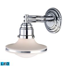Retrospective 1 Light Led Wall Sconce In Polished Chrome And Opal White Glass