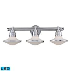 Retrospective 3 Light Led Vanity In Polished Chrome And Opal White Glass