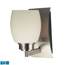Northport 1 Light Led Vanity In Satin Nickel And Opal White Glass