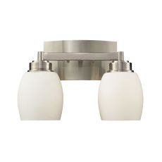 Northport 2 Light Vanity In Satin Nickel And Opal White Glass