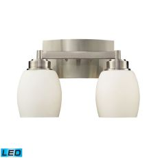 Northport 2 Light Led Vanity In Satin Nickel And Opal White Glass