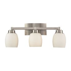 Northport 3 Light Vanity In Satin Nickel And Opal White Glass
