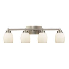 Northport 4 Light Vanity In Satin Nickel And Opal White Glass