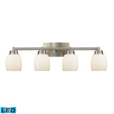 Northport 4 Light Led Vanity In Satin Nickel And Opal White Glass