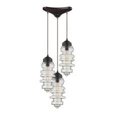 Cipher 3 Light Pendant In Oil Rubbed Bronze And Clear Glass