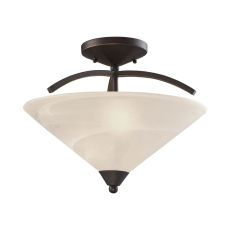 Elysburg 2 Light Semi Flush In Oil Rubbed Bronze And White Glass