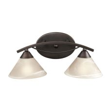 Elysburg 2 Light Vanity In Oil Rubbed Bronze And White Glass