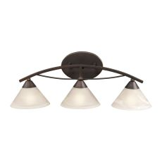 Elysburg 3 Light Vanity In Oil Rubbed Bronze And White Glass