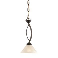 Elysburg 1 Light Pendant In Oil Rubbed Bronze And White Glass