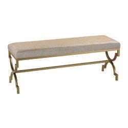 Double Bench In Cream Metallic Linen