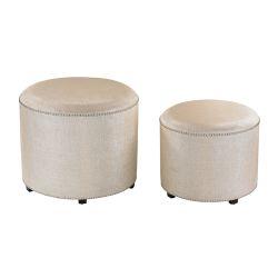 Set of 2 Cream Metallic Linen Ottoman